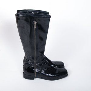 La Canadienne Black Patent Leather Tall Boots